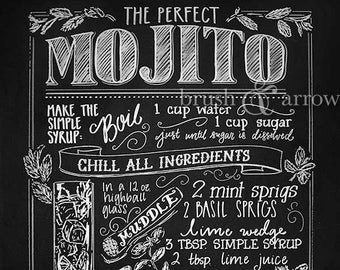 The Perfect Mojito ~ PRINTABLE ~ chalkboard style recipe drawing