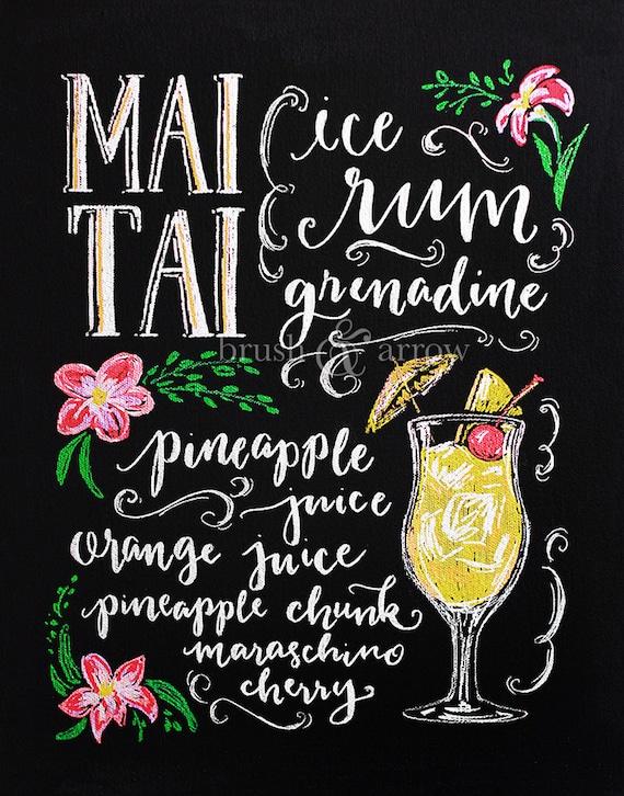 Mai Tai Printable Art Chalkboard Style Drawing