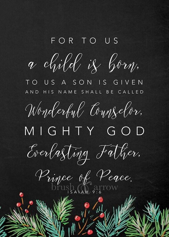 Christmas Bible Quotes.Christmas Bible Quote Isaiah 9 6 Instant Digital Download