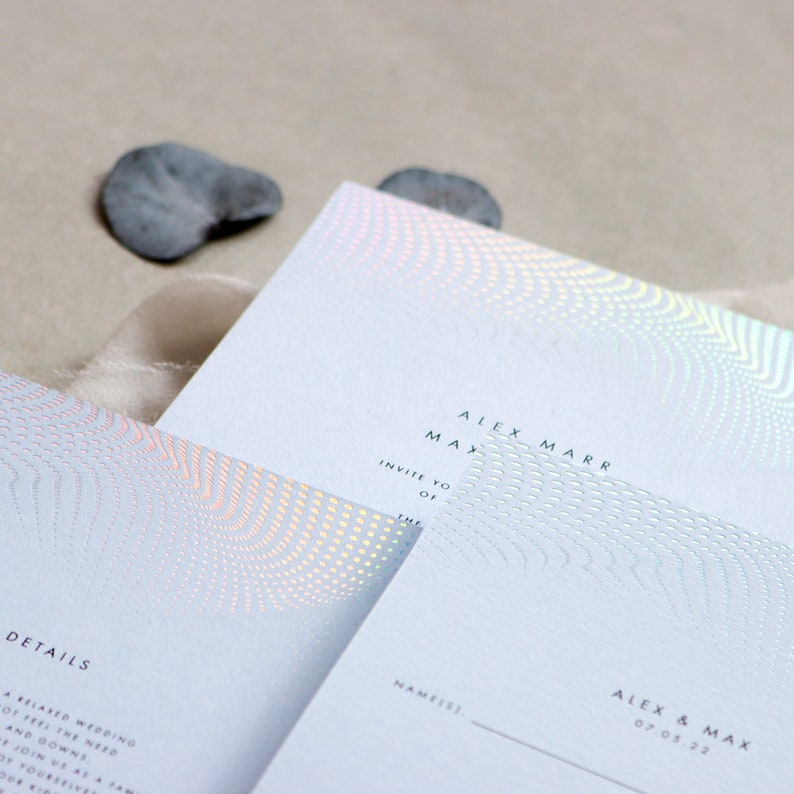 Holographic Wave Wedding Invitations suite in Blue image 0