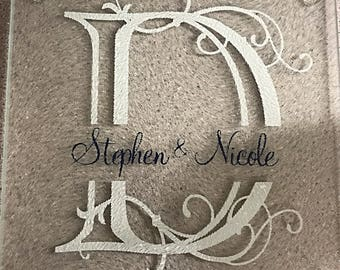 """Personalized Cutting Board witb Monogram or Customized Design - 7.75"""" x 7.75"""" glass square. available with any font in any color"""