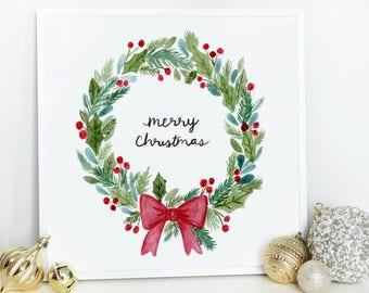 Christmas Wreath Printable Art Download Holiday Prints Xmas Print