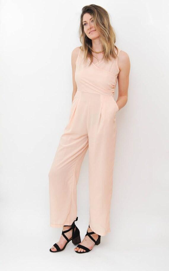 100% satisfaction guarantee crazy price on feet shots of vintage jumpsuit | light pink one piece | 70s chiffon jumper | dressy  romper playsuit | retro dress | size medium large