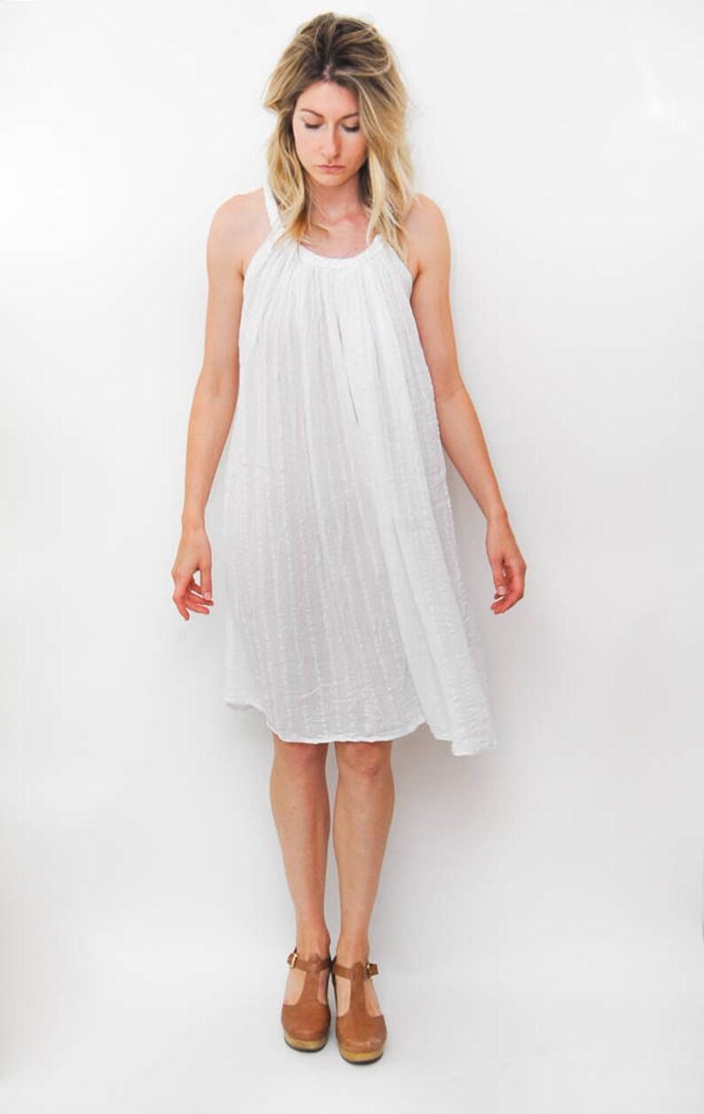 9bada148df88 Vintage white breezy dress beach sleeveless summer sundress   Etsy