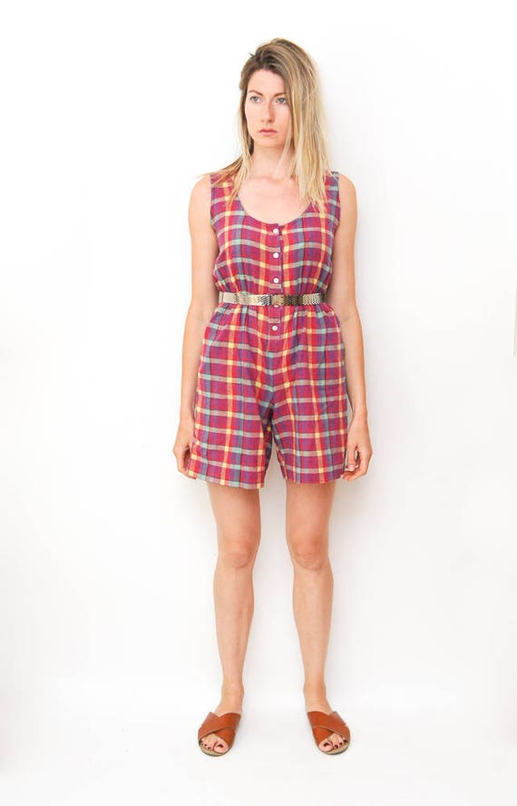72043763994 vintage pink plaid romper 80s 90s button down jumper