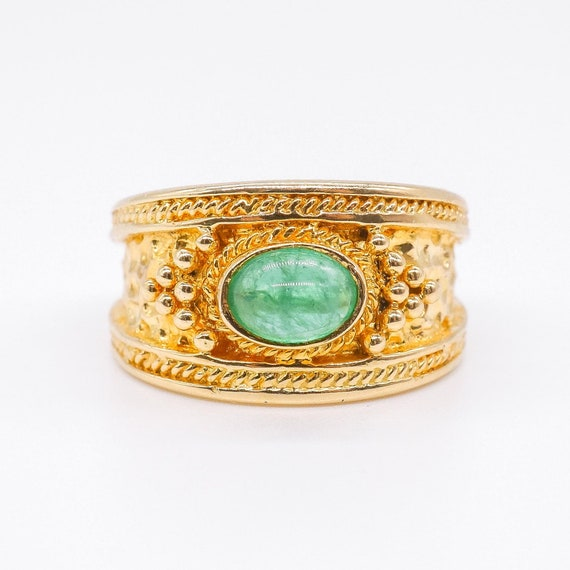 Vintage Oval Cabochon Green Emerald Ring