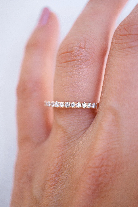 Rose Gold Diamond Wedding Band 14k Rose Gold Wedding Ring | Etsy