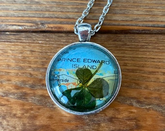 One-of-a-kind four-leaf clover necklace (with Prince Edward Island map)