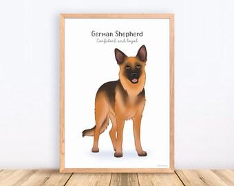 German Shepherd, Dog Breeds, Print, Illustration, Adorable, Wall Art, Puppy, Poster