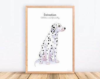 Dalmatian, Dog Breeds, Print, Illustration, Adorable, Wall Art, Puppy, Poster