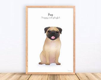 Pug, Mopshond, Dog Breeds, Print, Illustration, Adorable, Wall Art, Puppy, Poster