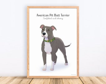 American Pit Bull Terrier, Staffordshire, American Stafford, Dog Breeds, Print, Illustration, Adorable, Wall Art, Puppy, Poster