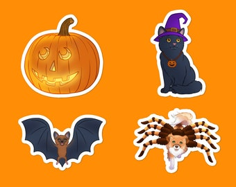 Halloween Vinyl Sticker Set of 4 - Halloween Decal, Pumpkin Decal, Cat Decal, Dog spider costume Sticker, Flying bat, Chihuahua