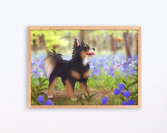 Chihuahua longhair black and tan butterflydog breeds print Illustration Adorable Wall Art Puppy Poster