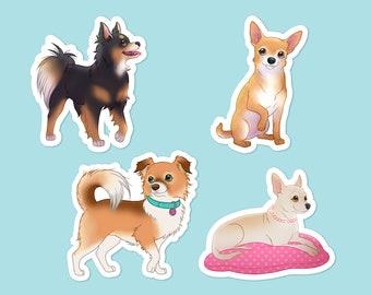 Chihuahua Vinyl Sticker Set of 4 - Chihuahua Decal, Dog Decal, Cute Decal, Chihuahua Sticker, Dog Lover, Chihuahua Lover