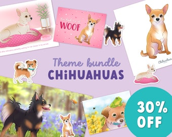 Theme Bundle - Chihuahuas , Short haired chihuahua, Dog Breeds, Postcard, Illustration, Adorable, Greeting card, art print, stickers, set