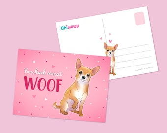 Chihuahua, Short haired chihuahua, Dog Breeds, Postcard, Illustration, Adorable, Greeting card, Puppy, love