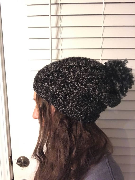 3f0bad2b761 Chunky Ribbed Slouch Hat crochet hat  pom hat