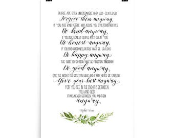 graphic relating to Mother Teresa Do It Anyway Free Printable identified as Mom teresa quotations Etsy