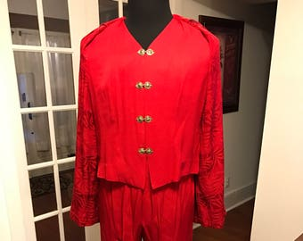1990's Red Pants Suit R&M Richards by Karen Kwong