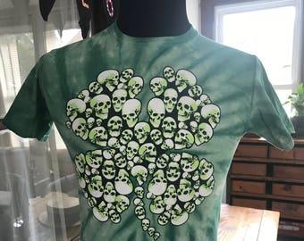 Tie Dye Skull Shamrock T Shirt