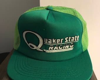 Vintage 1990's Quaker State Raceing Snap Back Trucker Hat