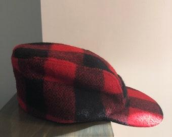 Vintage 1970 s Elmer Fudd Style Wool Plaid Hat b6e4344d62d