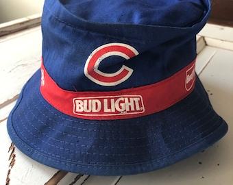 43618673849d3 Vintage 1990 s Chicago Cubs Bud Lite MLB Bucket Hat