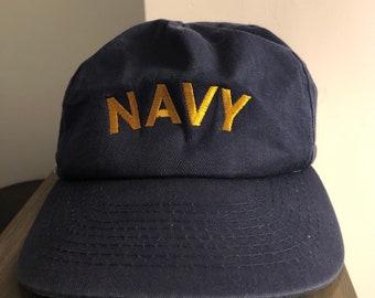 8e1fec71a Vintage 1980's Navy Snap Back Baseball Hat