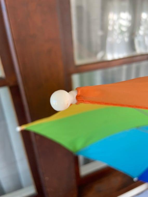 Vintage 1980's or 1990's Rainbow Clip on Umbrella - image 5