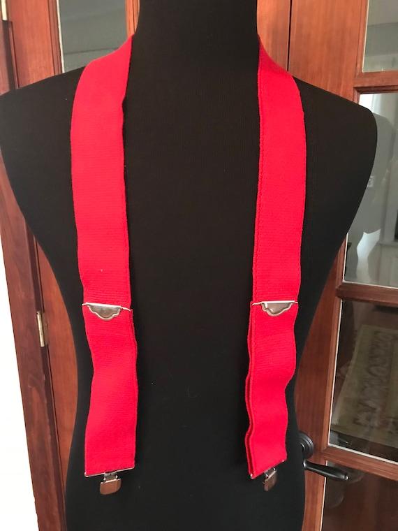 Vintage 1980's 1990's Red Suspenders