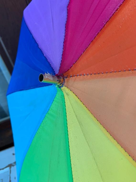 Vintage 1980's or 1990's Rainbow Clip on Umbrella - image 2