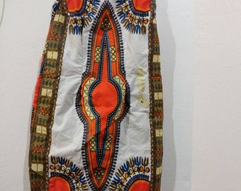 White Dashiki print dress