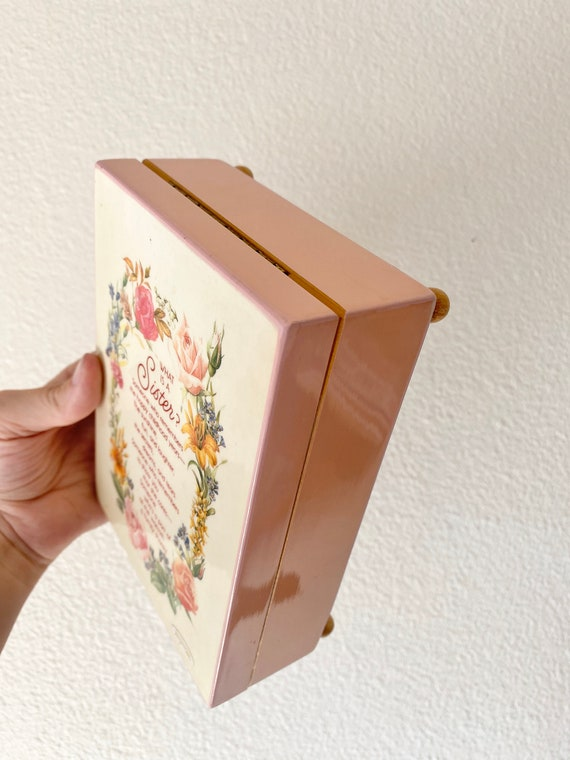 Sister \u2022 Music gift jewelry box Vintage boxes sound of music works wooden wood Baroque Rococo Keepsake earring rings Holder Trinket present