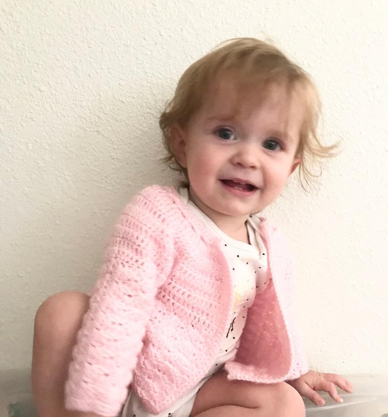 Vintage baby sweater handmade hand crocheted crochet pink baby shower gift 12 18  mos
