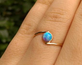 opal gold ring, blue opal gold ring, opal ring, blue opal ring, stacking opal ring, delicate opal ring, gold opal ring, thin stacking ring