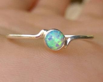 Tiny opal ring, Blue opal ring, opal ring, Sterling silver opal ring, Silver blue opal ring, blue opal jewelry, Blue opal, Silver stack ring