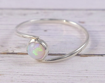 silver opal ring, white opal ring, stacking opal ring, opal ring for women, white opal, tiny opal ring, silver white opal ring, silver ring