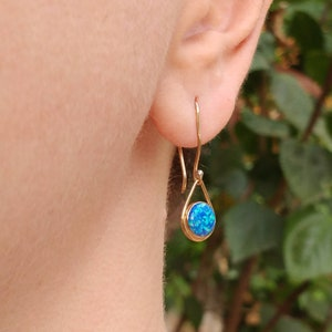 Lab Created Opal Drop Earrings in .925 Silver W 14k Rose Gold Accents