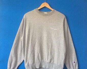 3b647ef8bf 15% OFF Vintage CHAMPION Sweatshirt Big Logo At Chest Embroidered Size  Medium Streetwear Fashion Styled Hip Hop
