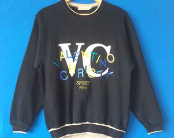 VINTAGE VALENTINO CHRISTY Sport Paris Sweatshirt Big Logo Spell Out Embroidered Size Medium Fashion Designer