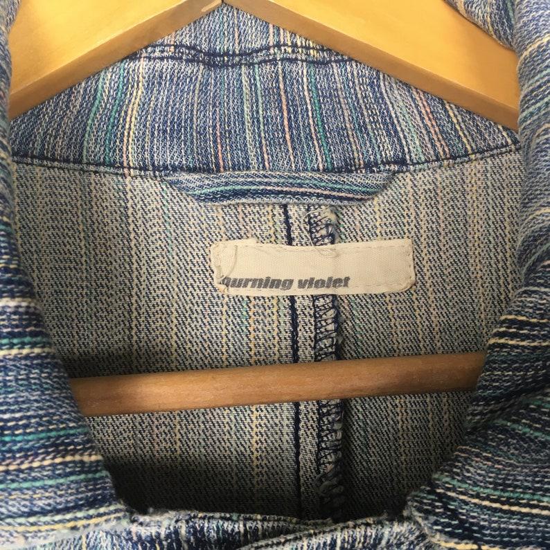 Vintage BURNING VIOLET Acid Wash Stone Wash Denim Jacket Hickory Striped Strecth Jacket Size Medium Workwear Streetwear Wokers