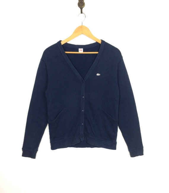 closer at new lower prices ever popular Vintage LACOSTE LIVE Cardigan Sweatshirt Button Up Double Font Pocket Navy  Blue Casual Fashion