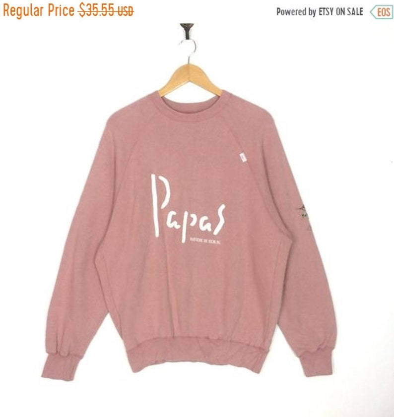25/% OFF Vintage PAPAS Maniere De Heming Sweatshirt Big Logo At Front And Back Size Large