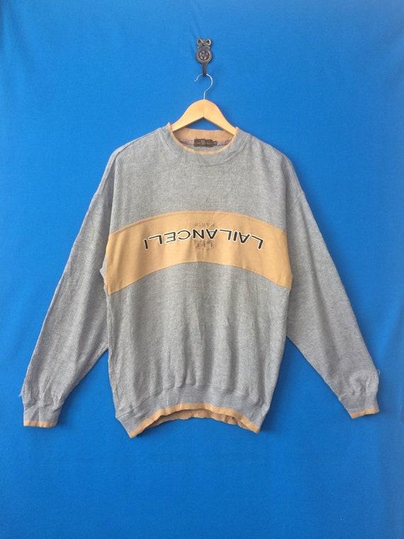 Vintage LAILANCELI PARIS Sweatshirt Big Logo Spell Out Embroidered Size Medium
