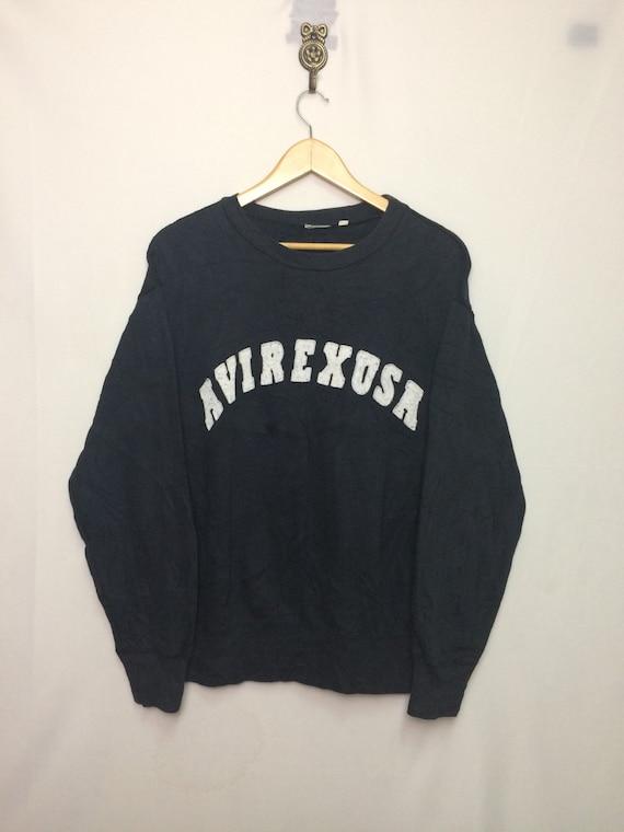 Rare AVIREX USA Sweatshirt Big Logo Spell OutArmyMilitaryFashionCasualStreewearHip HopBlackMedium