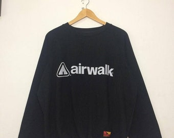 20% OFF Rare AIRWALK Sweatshirt Big Logo Spell Out Black Colour Size Medium Skate Hip Hop Snowboard Casual