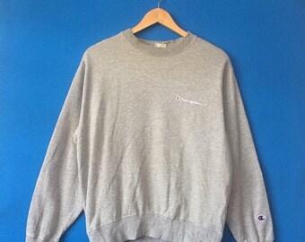 20% OFF Vintage CHAMPION Sweatshirt Big Logo At Chest Embroidered Size Medium Streetwear Fashion Styled Hip Hop