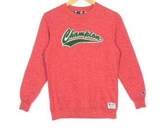 Vintage CHAMPION Sweatshirt Big Logo Spell Out Streetwear Hip Hop Fashion Size 160 Fit Small