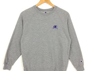 20% OFF Vintage CHAMPION Sweatshirt Big Logo At Chest Embroidered Logo Size 150